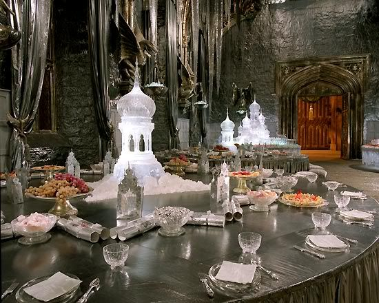 The High Table for the champions and their dates and the teachers/coordinators of the Triwizard Tournament say here.