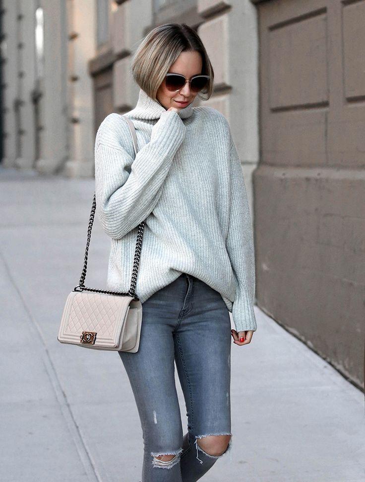 Grey Monochromatic Turtleneck Sweater