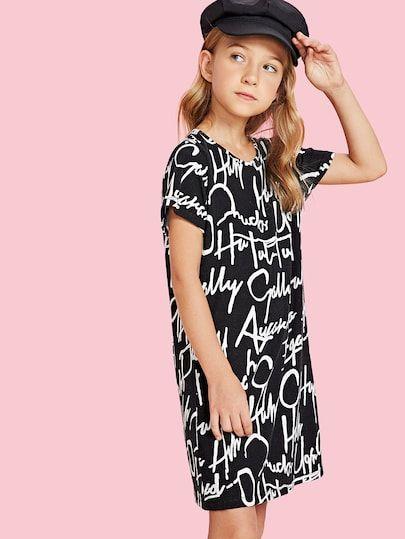 49b7a6b0b24 Girls Allover Letter Print Dress