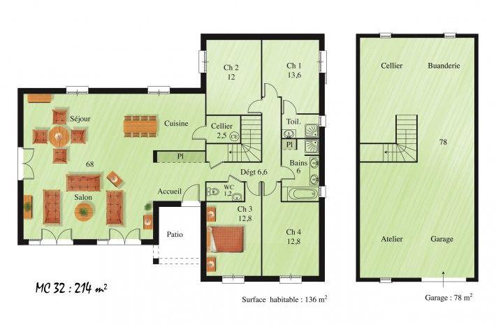 Plan du modèle MC32, maison sur Sous-sol - La Maison des Compagnons