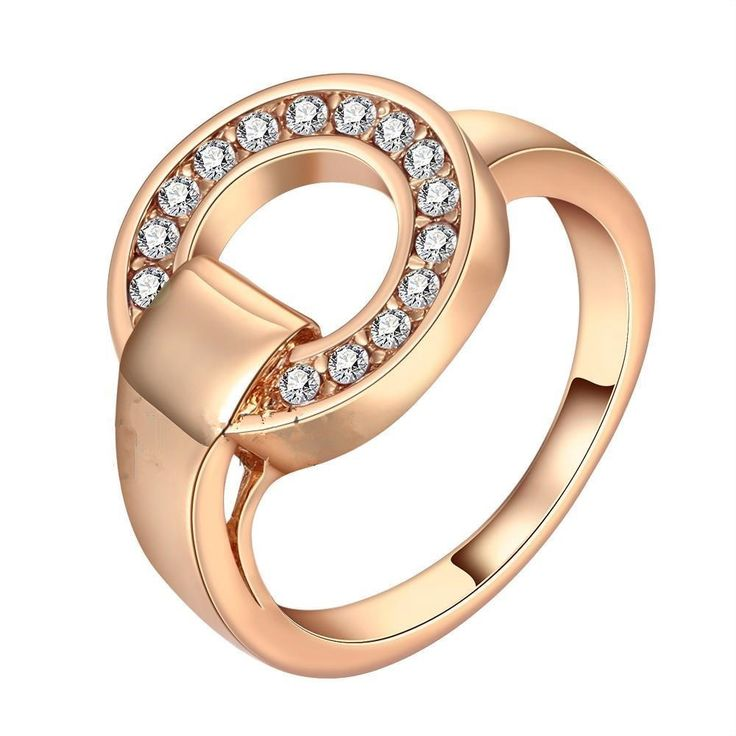 Euramerican Rose Gold Color White Cubic Zirconia Rings,Trendy Women Jewelry Wanita Cantik Bijoux,New Year Gift Wholesale
