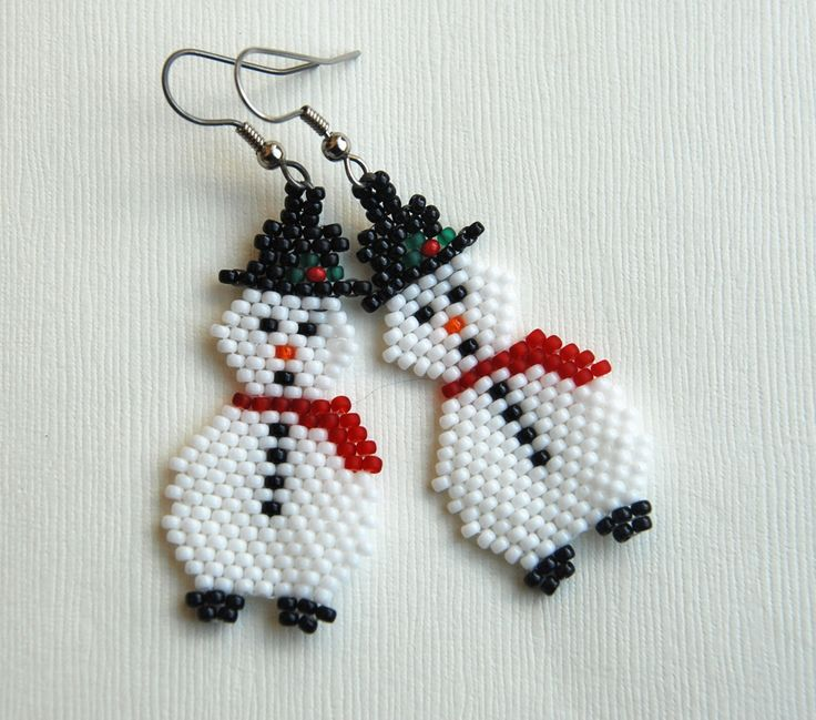 Snowman earrings done. When I created the pattern in Bead Tool I thought his bottom looked flat so I added boots! I think I am done wit...