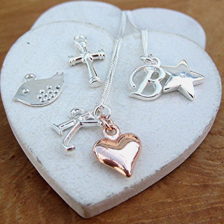 INITIAL PUFF HEART or STAR NECKLACE *(yd)
