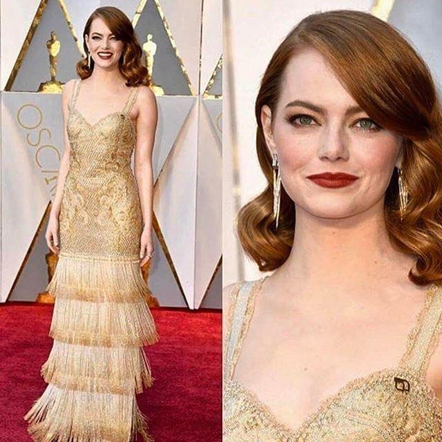 Oscar 2017 - Gostei da cor, modelo e make que ela fez. Esperava mais...mas esta bonito!