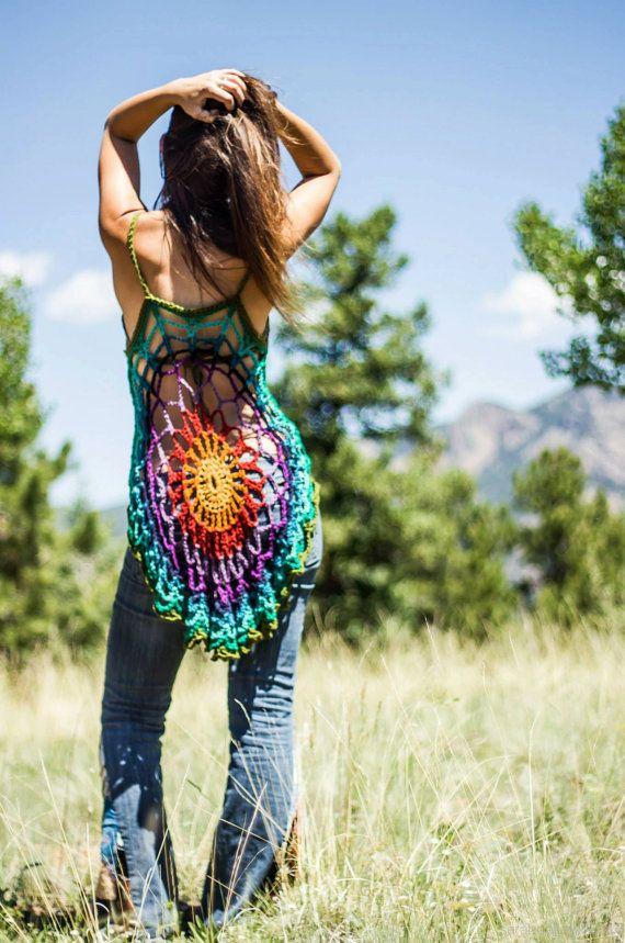 Crochet mandala tunic /dress / swimsuit by aMandalaCreations