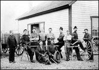 Saddlers, carpenters, blacksmiths and other craftsmen at Fort Macleod.