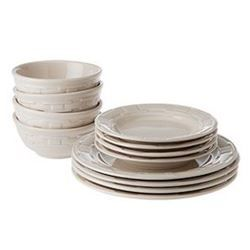 Longaberger  Woven Traditions® 12-Piece Dinnerware Set Ivory~4 Soup/Salad, 4 Bread, 4 dinner plates, $248
