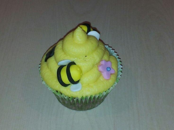 Beehive cupcake for SPCA cupcake day 2013. Honey cupcake, vanilla butter cream, fondant decorations.
