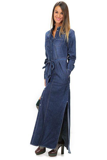 TWIN-SET SIMONA BARBIERI - Abiti - Abbigliamento - Abito in jeans con spacchi…