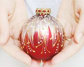 Christmas Ornament, glass ball, hand painted bauble, holiday decor, Faberge style || RED SWIRL