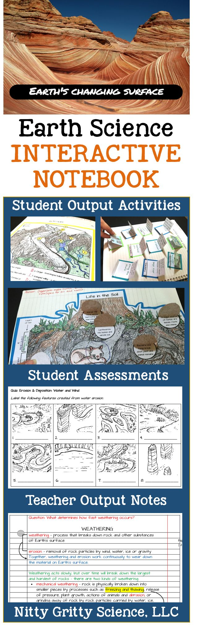 Science Interactive Notebooks plus mini-quizzes and Teacher Notes for Earth's Changing Surface {erosion, deposition, glaciers, water, mass movement}