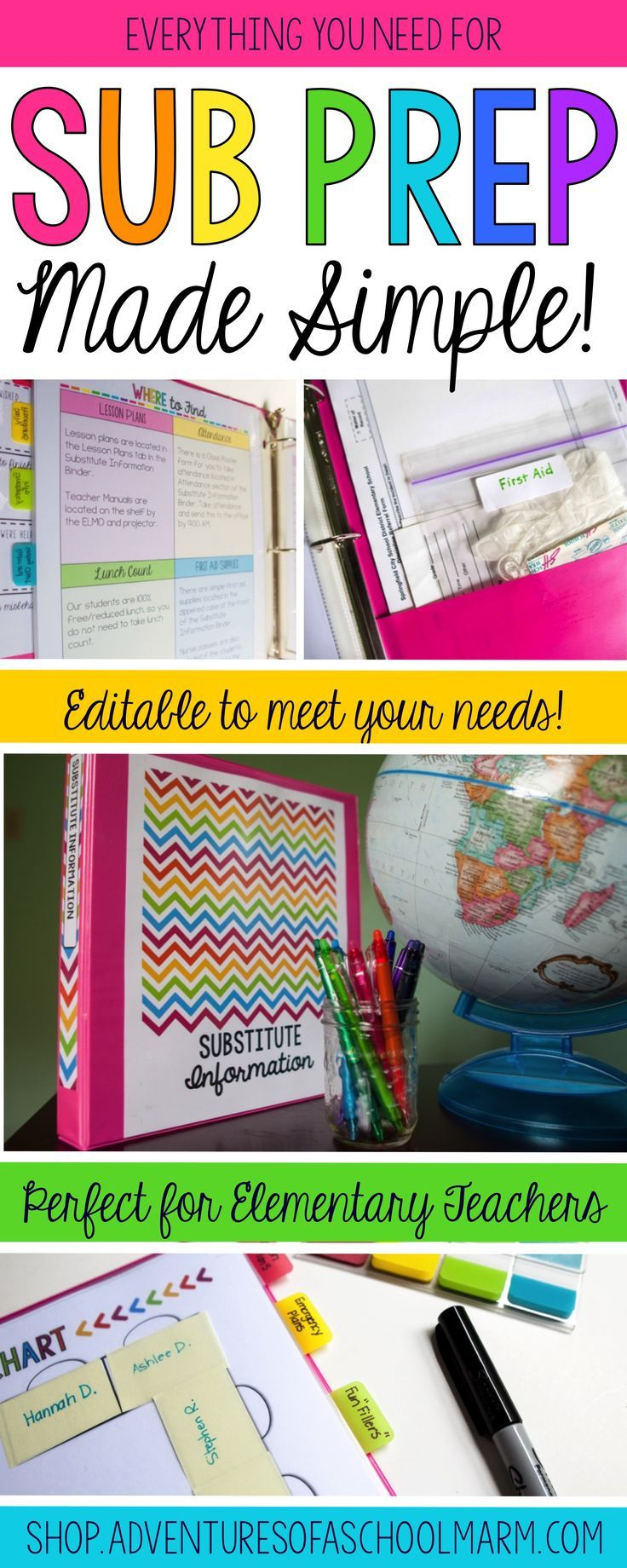 This EDITABLE sub binder keeps prep for a sub simple! Always be prepared to have a substitute teacher in your classroom with these templates and forms. Perfect for Kindergarten, 1st grade, 2nd grade, 3rd grade, 4th grade, 5th grade, & 6th grade teachers.