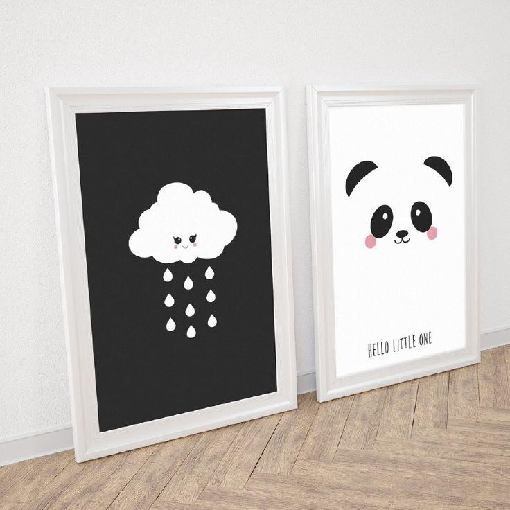 Poster panda en wolk in zwart wit decoratie kinderkamer babykamer