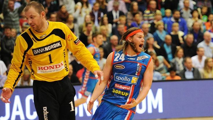 Kolding IF playing against AG København in the first semifinal in Trefor Arena. Frederik Ohlander and Mikkel Hansen.   Result 26-26 (12-12)  (12.05.12)