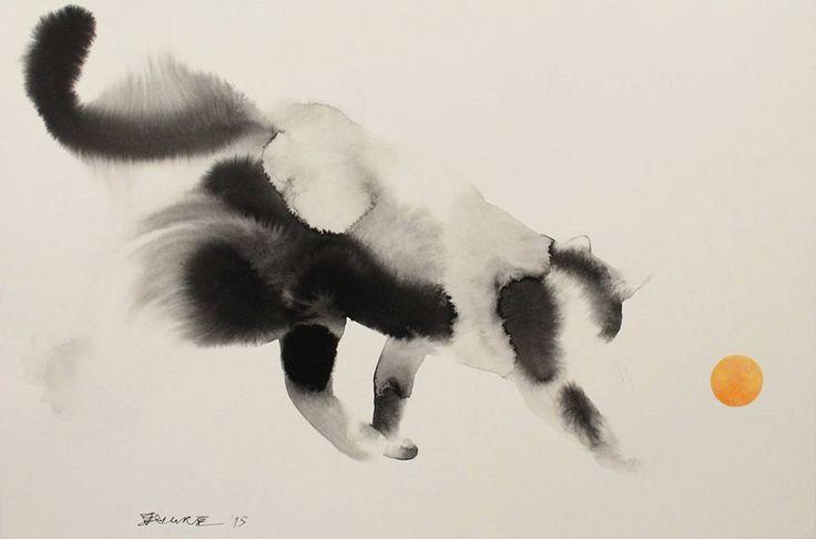 Los gatos a la acuarela de Endre Penovác