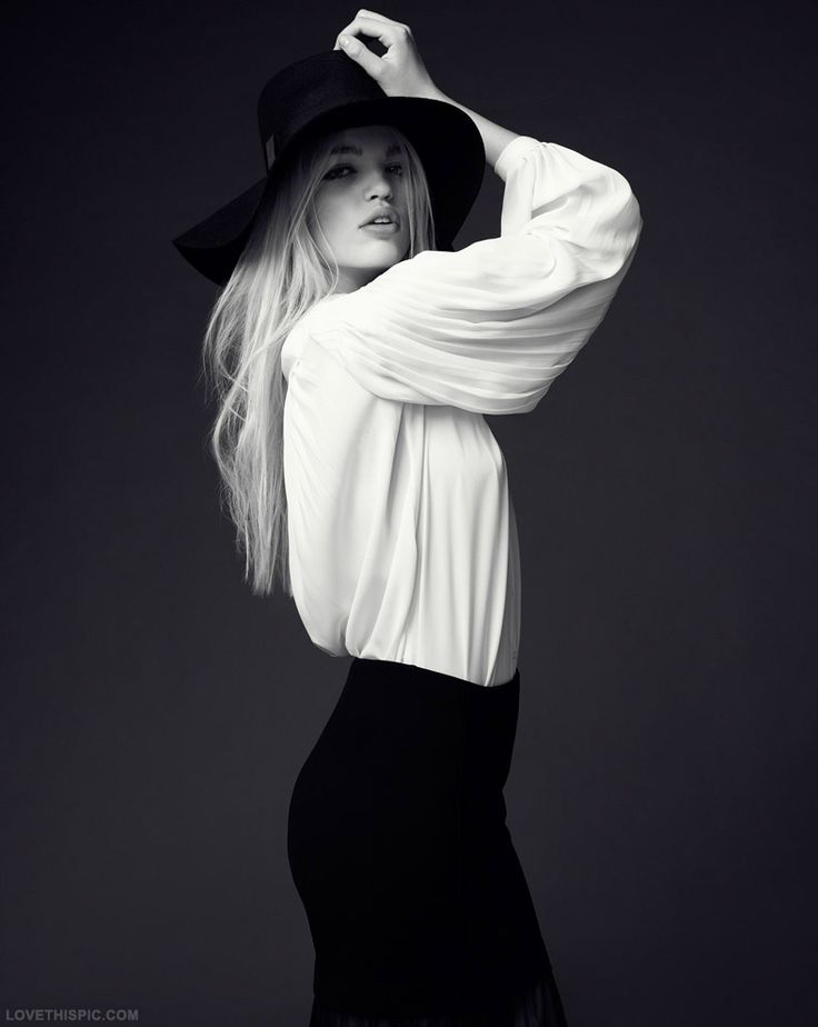 Black and white fashion blonde black hat white fashion photography