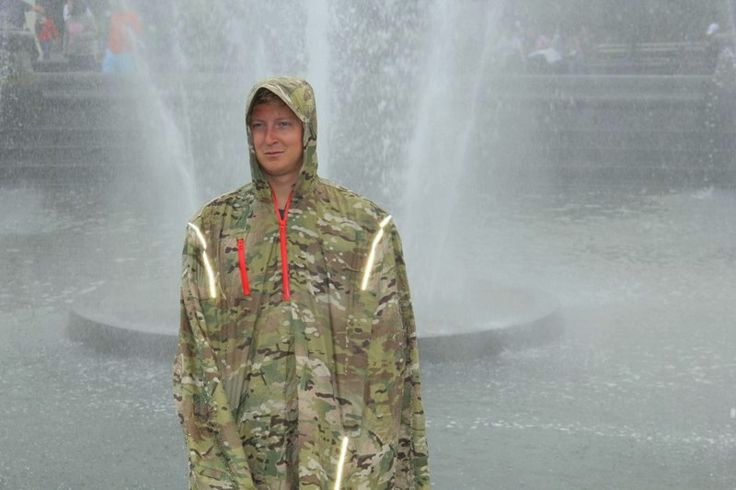 Urban adventure guy puts the cult in culture. His fountain tours are the best. #RainCape #Camo