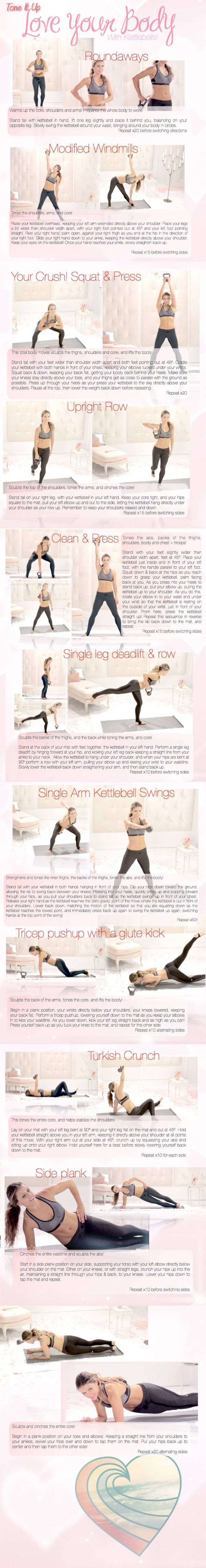 NOTE from TeamMona: I love multi-tasking Kettlebells! Click on image for complete workout. Most of this workout can also be done with regular hand weights. Just ask me how. :-) LYB-Kettlebell-katrina-tone-it-up-toned-up-printable-jpg
