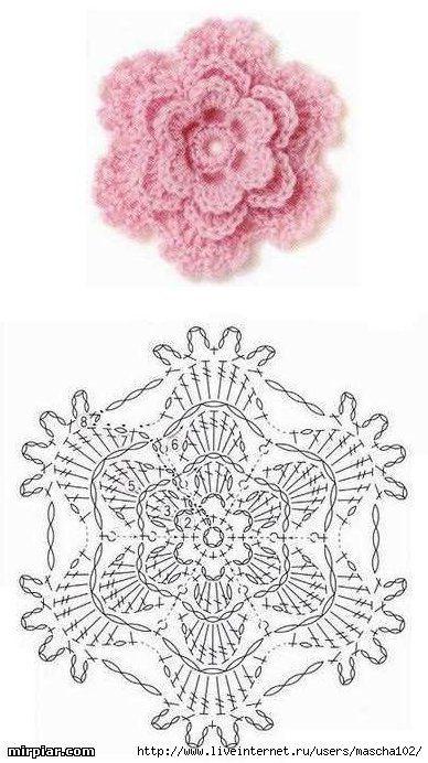 Pink crochet flower. Diagram only.