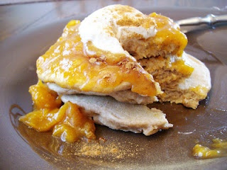 Oatmeal Pancakes with honey bourbon apricot topping. This topping is ...