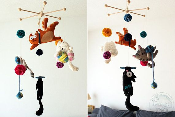 Felt mobile with cats Felt kittens Personalized by Obyshandmade
