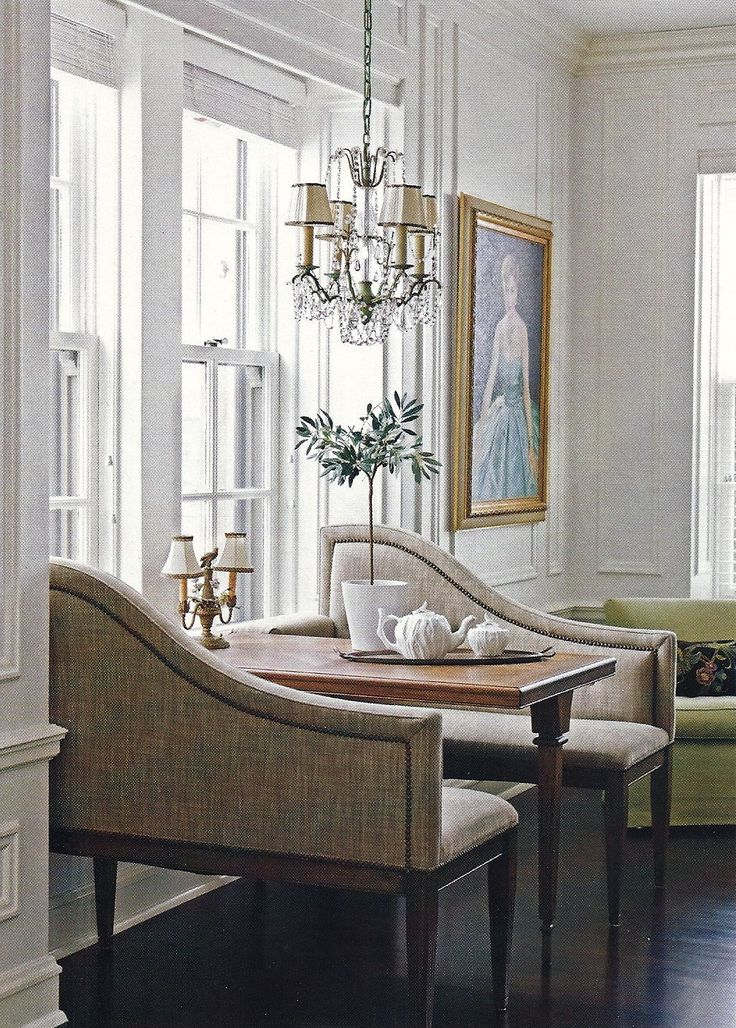 Like the idea of placing a table and chairs next to a window to give a restaurant feel.  Great game table too.  From Traditional Home magazine May 2008