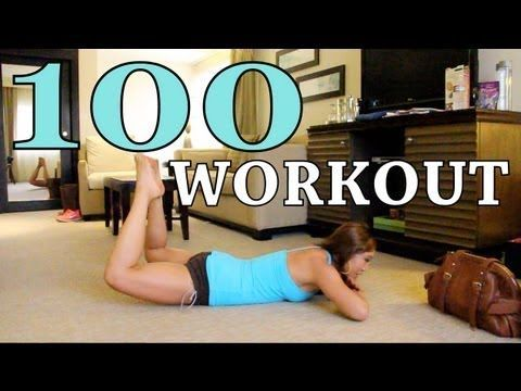 The 100 workout! Try this for a quickie toning session before work, or on vacay before you go out to hit all of your muscles! 10 rollups 10 tricep kick 'n dips 10 push ups 10 hover jacks 10 grasshoppers 10 double leg lifts + heel click combo 10 star abs 10 leg outs 10 corkscrews 10 oblique twists