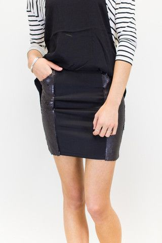 Stud Skirt | #boodlesbuys #boodlesboutique Stretch mini with matt sequin panels and pocket details. Too cute!