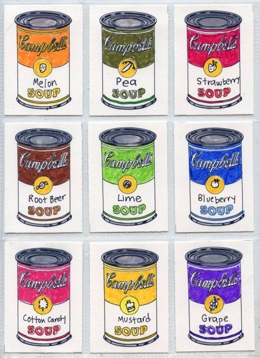 Campbell Soup Can Trading Cards. Free template has room to name your own soup. Art Projects for Kids.