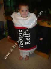 Tootsie Roll Costume: I was trying to come up with an ideal costume for my son for Halloween, and he was sitting there at the table eating tootsie rolls, which he loves, and