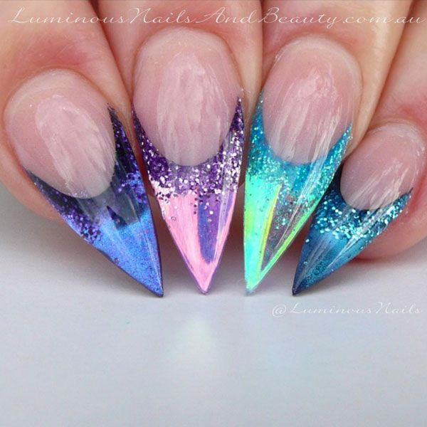 You've never seen pointed acrylic nails like these chrome claws. Created with four types of glitter, acrylic and chrome, you have to see this nail art.