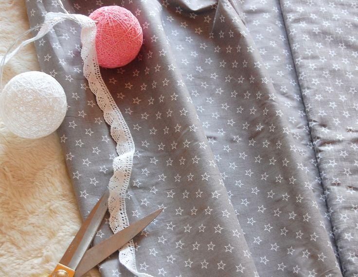 Tkanina bawełniana gwiazdki na szarym Fabric white stars
