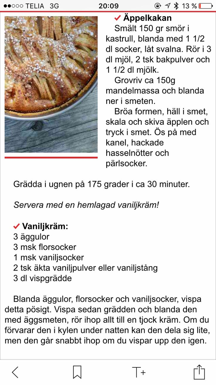 Äppelkaka och vaniljkräm