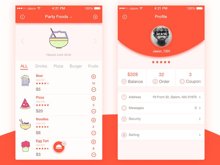 Ordering interface app UI