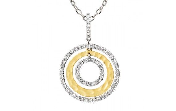 14KW/YEL HAMMERED CTR CIRCLE DIA PENDANT, D.24CT