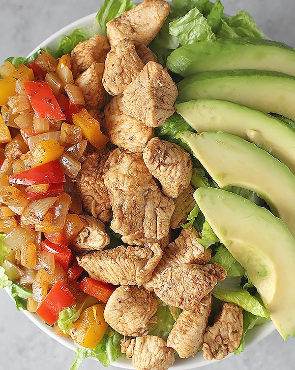 Paleo Chicken Fajita Bowl **Best homemade fajitas ever! I used one each of green, red and yellow pepper and upped the spices by about a quarter and it was excellent!