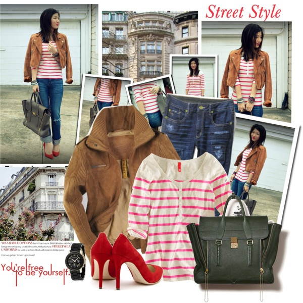 cute outfit!Red Stripes, Autumn, Style Inspiration, Cute Outfits, Street Style, Red Heels, New Wardrobes, Red Pumps, My Style