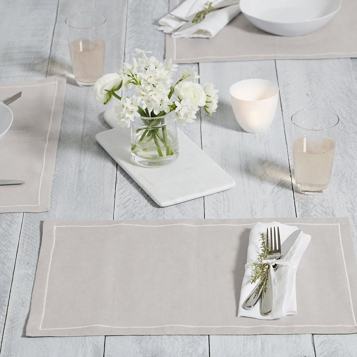 The White Company US. Petworth Placemat S/2 | Made from our gorgeously soft cotton-linen fabrication with a single, white embroidered cord around the edge, these placemats have a lovely drape and wash really well. Pinning from the UK? -> http://www.thewhitecompany.com/home/home-accessories/table-linen-and-accessories/petworth-placemats-set-of-2/