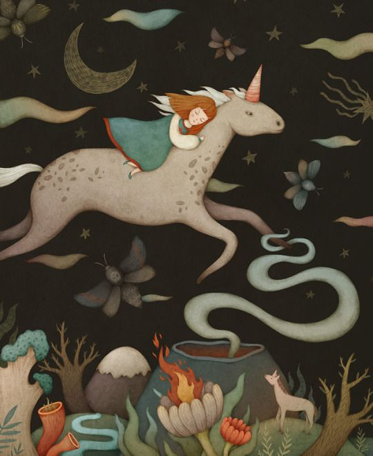 """""""Over the night sky"""".  An illustration for a fairy children's book I'm currently working on."""