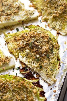 This is a wonderful, healthy side dish to accompany your grilled meats: Roasted cabbage wedges seasoned with garlic, parmesan and spices.