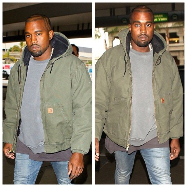 Kanye West was spotted arriving at LAX for a departing flight to Chicago wearing a Carhartt Active Jac/Quilted Flannel lined hoodie. Want a jacket like this, click here: http://mammothworkwear.com/carhartt-quilted-flannel-lined-sandstone-active-jacket-p1751.htm We also have the sherpa lined version here http://mammothworkwear.com/carhartt-sherpa-lined-sandstone-active-jacket-p1749.htm