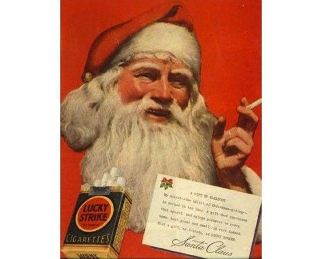 """Old ad from the 50s! """"Leave Santa Milk, Cookies and Lucky Strikes"""""""