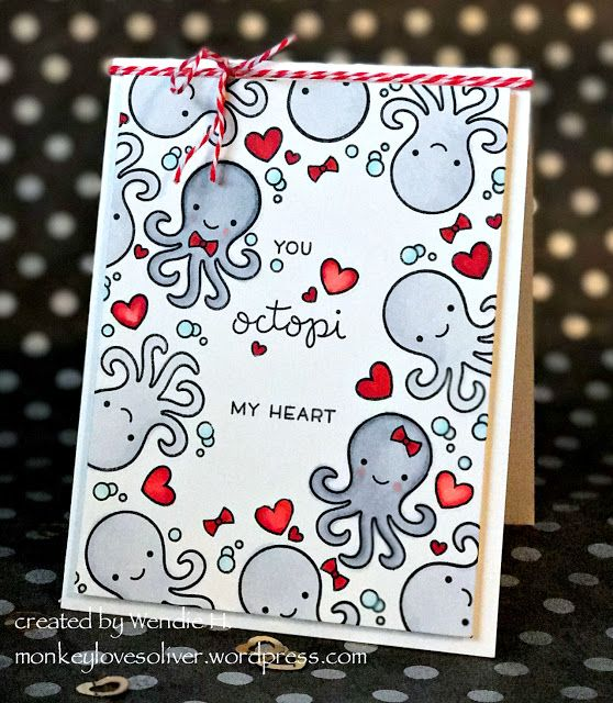 the Lawn Fawn blog: Loved theme Valentine's Day card by Wendie H. (using Octopi My Heart)