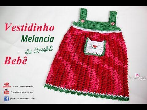 Vestido de Crochê p/ Bebê Melancia- 1 Mês - passo a passo - Simone