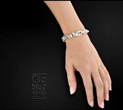 bracelet maille argent clio blue