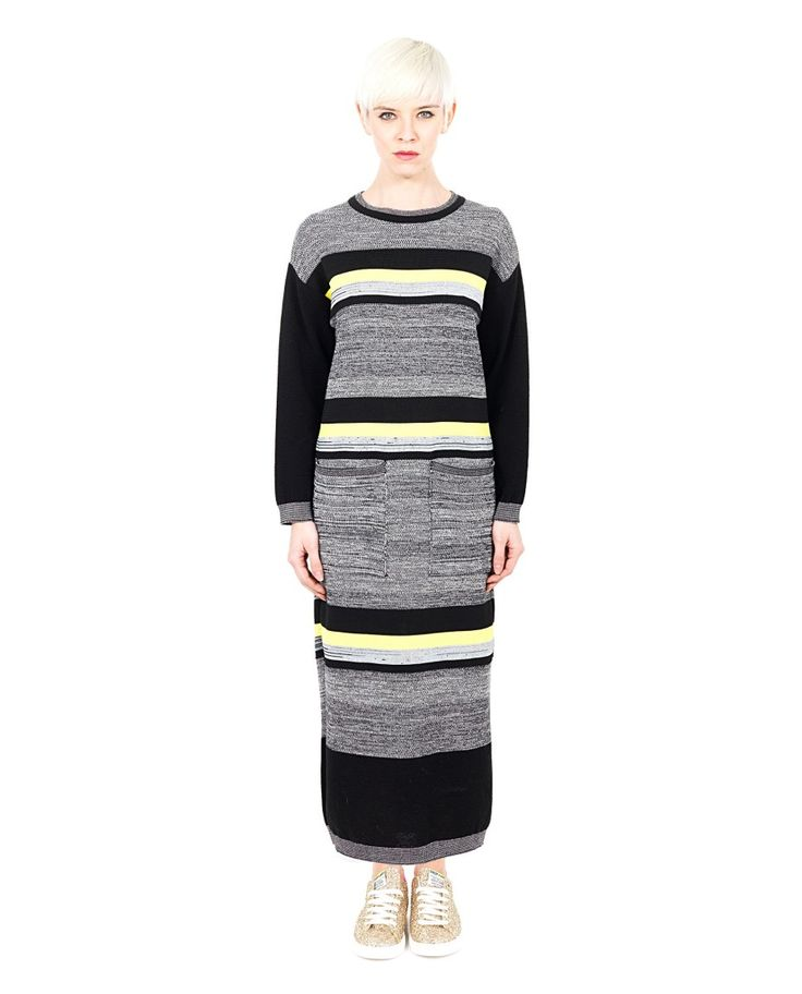 AKEP Multicolor long dress crew-neck long sleeves two large front pockets 80% WO 20% NY