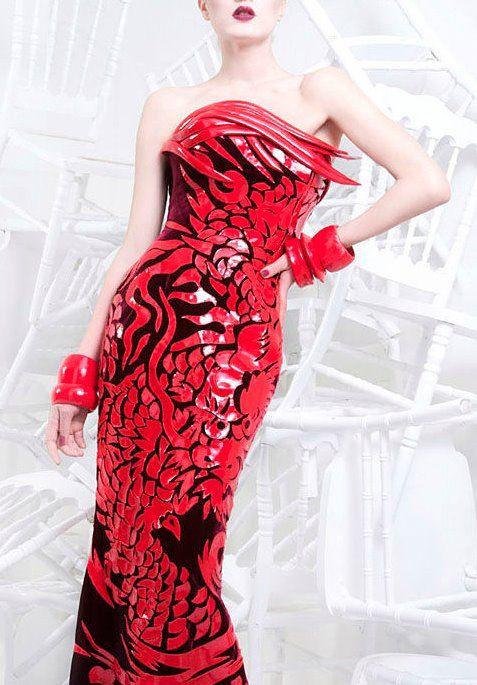 Nicolas Jebran fabulous red textured dress.