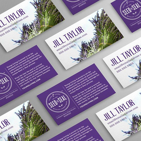 Seed to Seal. Lavender Bundle Design. Represent your Young Living business with a creative, professional and affordable business card.