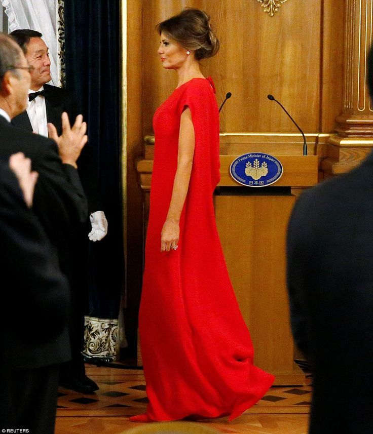 Official: Melania Trump opted to wear a traditional floor-length gown as she attended a state banquet in Tokyo on Monday night, held to mark her husband's visit to Japan during the couple's 12-day trip around Asia