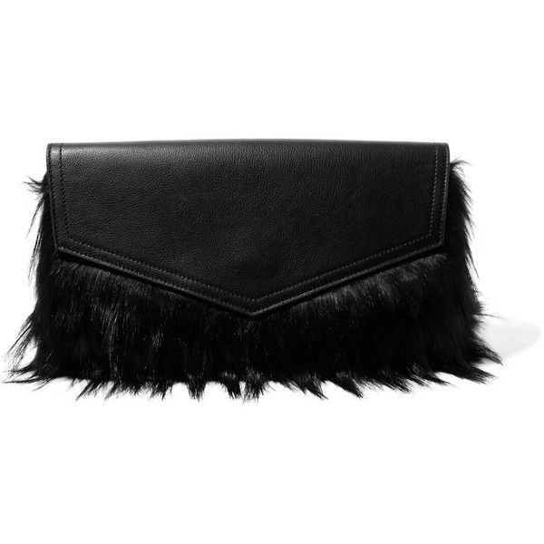 Iris and Ink - Ziggy Faux Fur And Textured-leather Clutch (12,930 DOP) ❤ liked on Polyvore featuring bags, handbags, clutches, black, summer handbags, snap closure purse, summer purses, summer clutches and snap purse